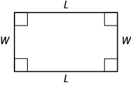 A rectangle is shown. Each angle is marked with a square. The top and bottom are labeled L, the sides are labeled W.