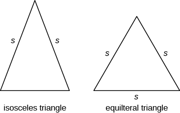 "Two triangles are shown. All three sides of the triangle on the left are labeled s. It is labeled ""equilateral triangle"". Two sides of the triangle on the right are labeled s. It is labeled ""isosceles triangle""."