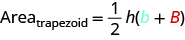 "This image shows the formula for the area of a trapezoid and says ""area of trapezoid equals one-half h times smaller base b plus larger base B)."