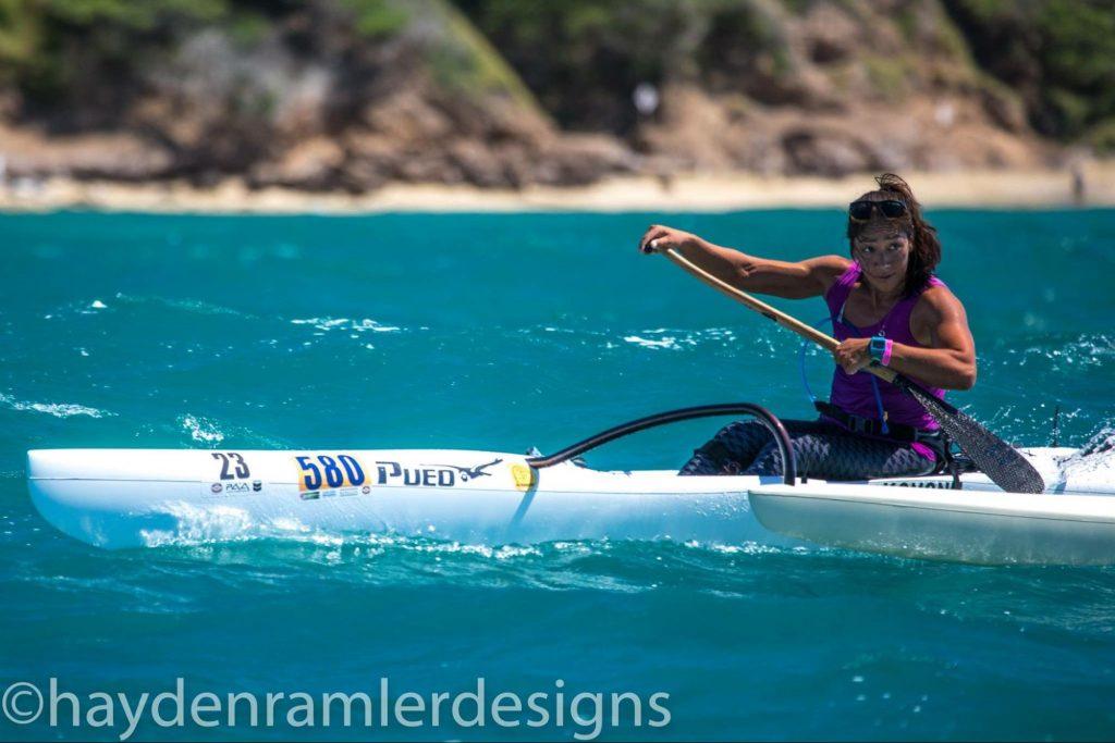 Canoe paddler in a race