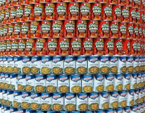 A supermarket display of canned food