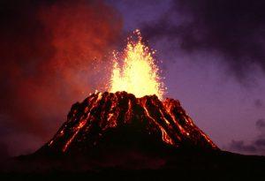 Lava erupting from the Puʻu ʻŌʻō vent in June 1983