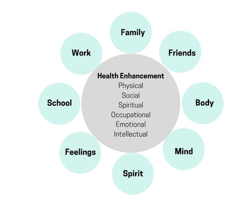 Health Enhancement - physical, social, spiritual, occupational emotional, intellectual; family, friends, body, mind, spirit, feelings, school, work