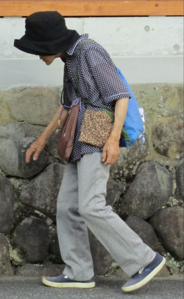 Elderly woman walking
