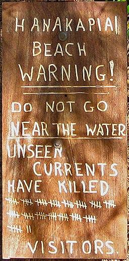 Hanakapiai Beach Warning Sign Only