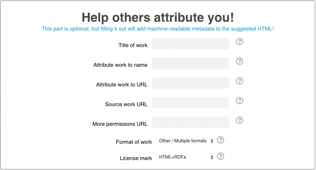 CC license metadata fields