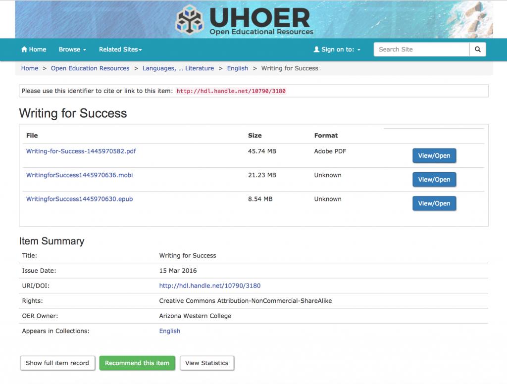 Screenshot of item in UH OER Repository